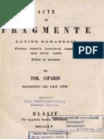 [1855] Timotei Cipariu (1805-1887) - Acte Si Fragmente Latine Romanesci Pentru Istoria Beserecei Romane Mai Alesu Unite