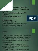 Conducción de Calor Transitorio en Paredes Planas, Cilindros y Esferas