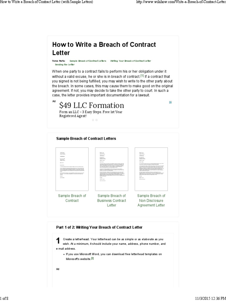 Breach Of Contract Letter