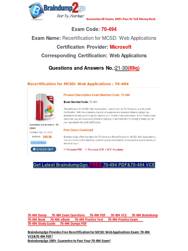 Braindump2go latest 70 494 exam questions free download21 30 braindump2go latest 70 494 exam questions free download21 30 portable document format microsoft sql server xflitez Gallery