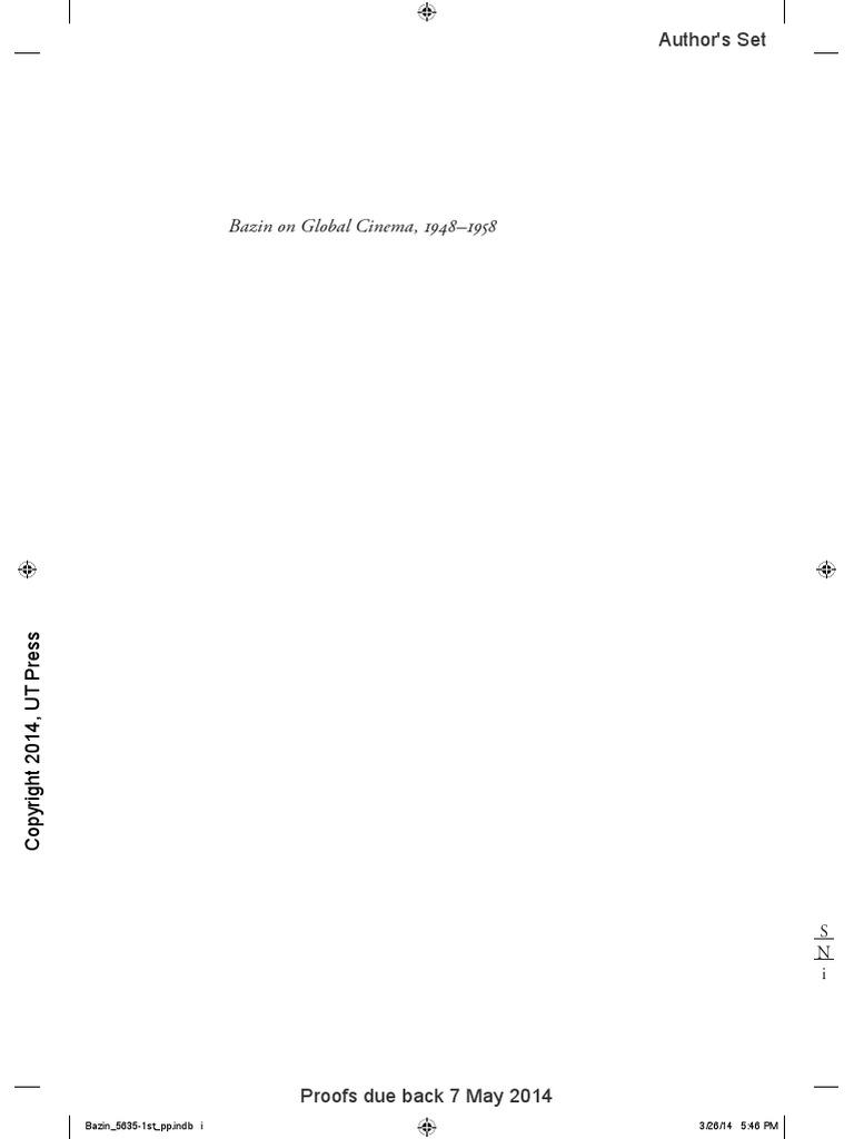 Bazin on Global Cinema PDF | Idealism | Reality