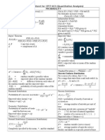 Formula Sheet - Quantitative Analysis
