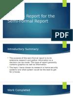 progress report for the semi-formal report