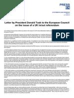 Donald Tusk letter responding to UK reform demands