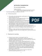 year 4 teaching practice competencies