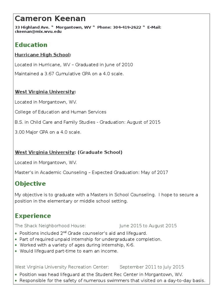 Cameron Keenan Resume 1 Internship Graduate School