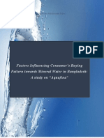 Factor's influencing consumers buying pattern towards mineral water in Bangladesh, a study on Aquafina (cover page)