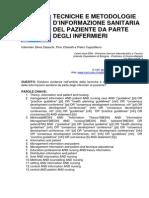 TECNICHE E METODOLOGIE  D'INFORMAZIONE SANITARIA  DEL PAZIENTE DA PARTE  DEGLI INFERMIERI