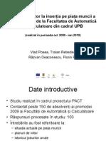 Studiu referitor la inserția pe piața muncii a absolvenților de la Facultatea de Automatică și Calculatoare din cadrul UPB