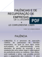 Lei de Fal Ncias e de Recupera o de Empresas - Lei - 11101-2005 Parte 1