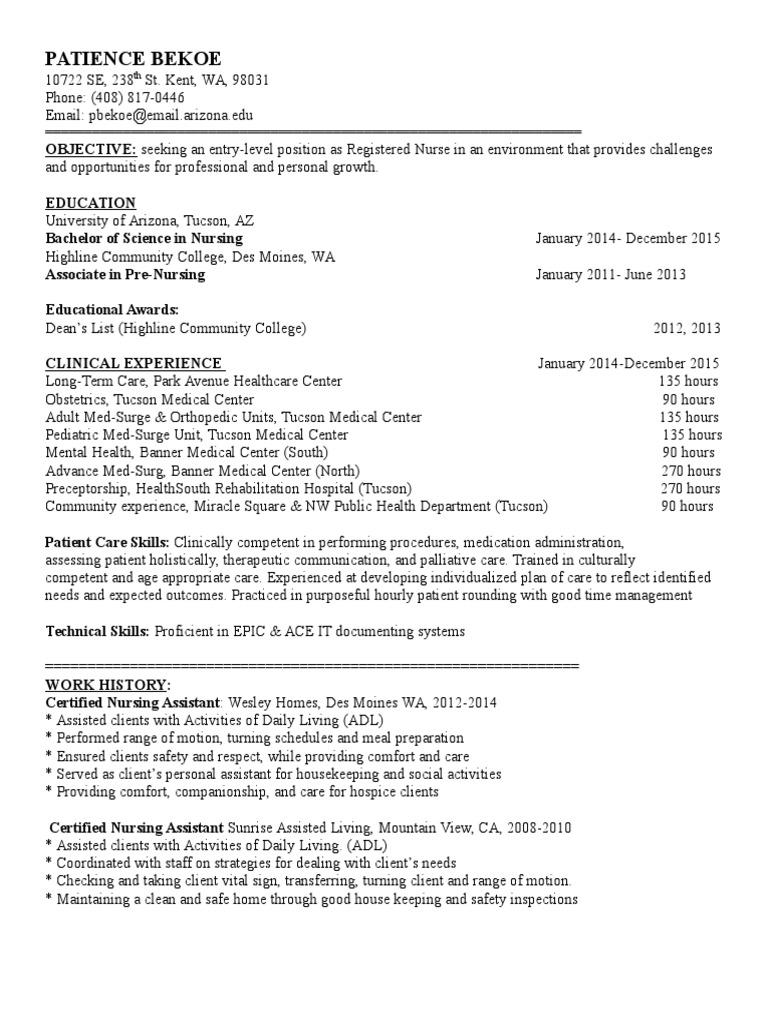 Resume Nursing Hospital
