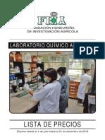 LABORATOIO FHIA Lista de Precios Julio-Diciembre.2015