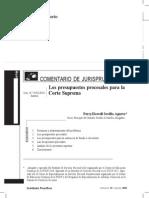 Los Presupuestos Procesales Para La Corte Suprema - Sevilla Agurto