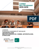 Livret Licence Anthropologie 2015 2016 Version 17 Septembre 2015