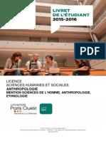 Livret Licence Anthropologie 2015 2016 Version 17 Septembre 2015