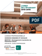Livret Licence Pro Guide Conferencier 2015 2016 Version Definitive 2015