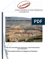 Derecho Minero Canon. Regalias Mienras y Hidrocarburos