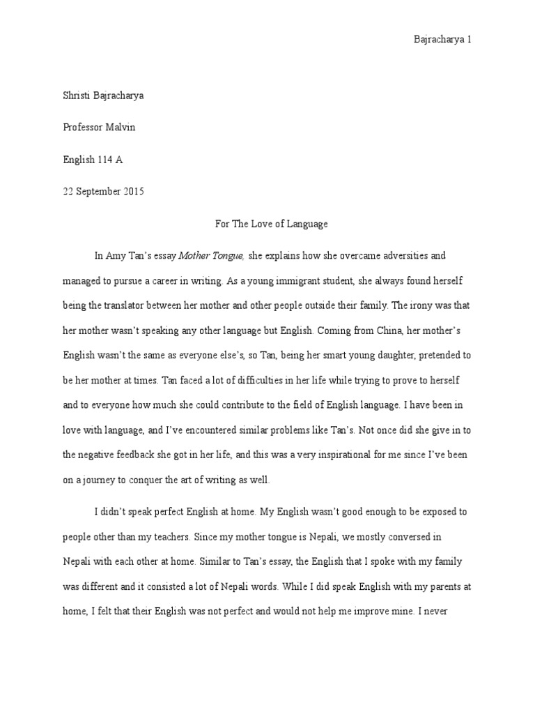 Essay Mother Tongue in a persuasive essay develop your argument