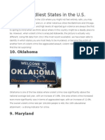 10 Deadliest States in the U.S.
