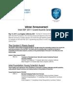 Intel ISEF 2011 Grand Award Winners Announce(5!23!2011)