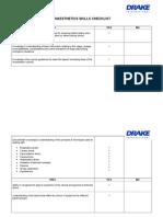 Anaesthetics Skills Checklist