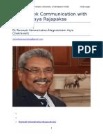 Message to Lt Col Gotabaya Rajapaksa by Dr Romesh Senewiratne-Alagaratnam Arya Chakravarti