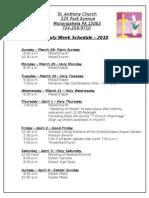 Easter Holy Week Schedule 2010