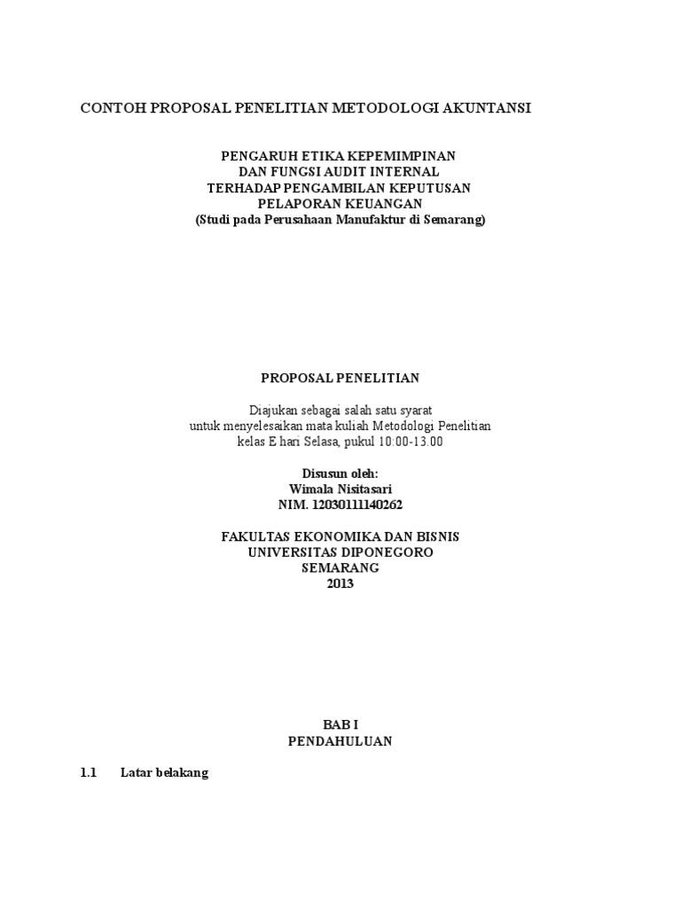 Contoh Proposal Penelitian Metodologi Akuntansi