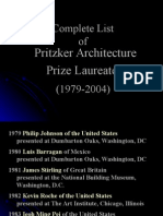 Complete List of Pritzker Architecture Prize