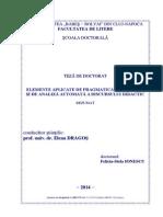 d Elemente Aplicate de Pragmatica Lingvistica Si de Analiza Automata a Discursului Didactic