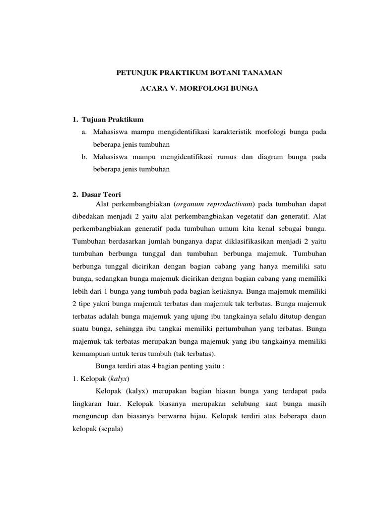 Petunjuk praktikum acara v morfologi bunga ccuart Image collections
