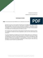 Communiqué du bureau fédéral du 07 décembre 2015