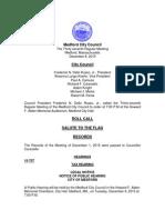 Medford City Council agenda December 8, 2015