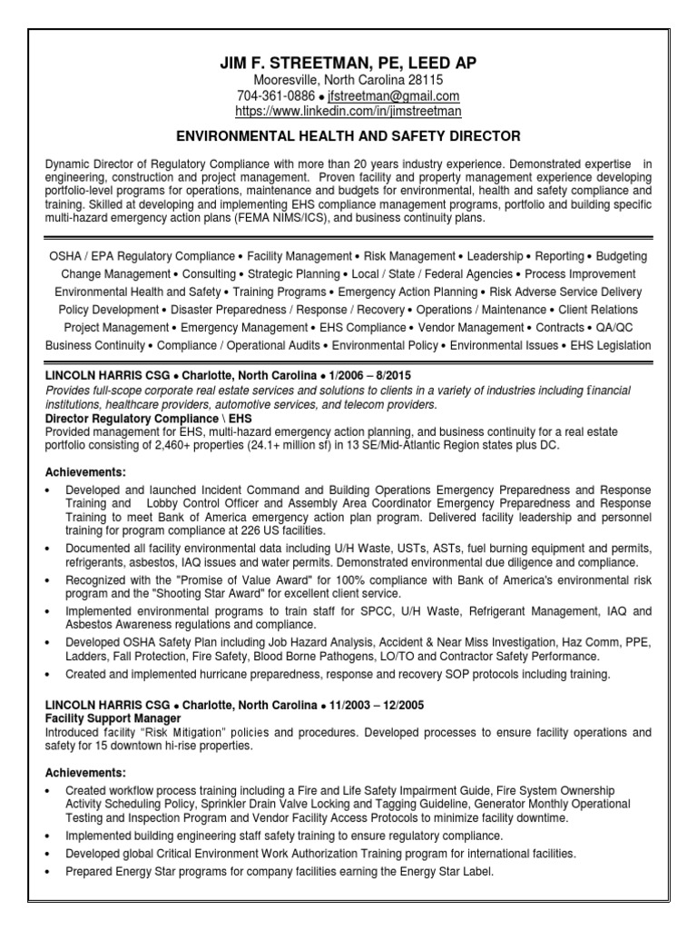 Environmental health safety manager in charlotte nc resume jim environmental health safety manager in charlotte nc resume jim streetman emergency management regulatory compliance xflitez Gallery