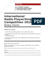 International Radio Playwriting Competition 2016