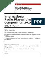 International Radio Playwriting Competition 2016