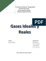 Trabajo Gases Ideales y Reales