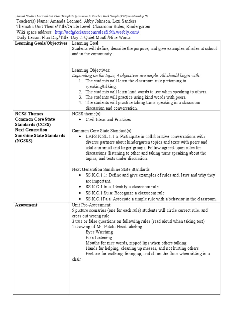 Day Conversation Classroom - Thematic lesson plan template