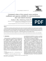 Calculated values of the octanol–water partition coefficient and aqueous solubility for aminoazobenzene dyes and related structures
