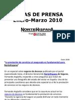 Nortehispana Seguros, notas de prensa primer trimestre
