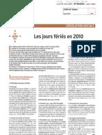 Infos Juridiques - Les Jours Feries en 2010