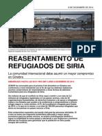 Resettlement Briefing_ES_Reasentamiento de Refugiados de Siria