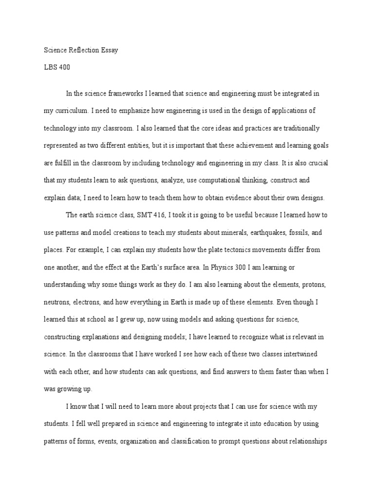 science reflection essay science education science