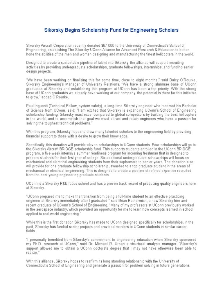 Sikorsky-UConn Alliance Press Release | University Of Connecticut ...