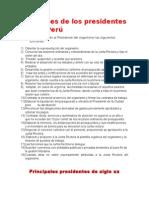 Funciones de Los Presidentes Del Perú