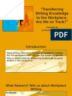 transferring writing knowledge to the workplace