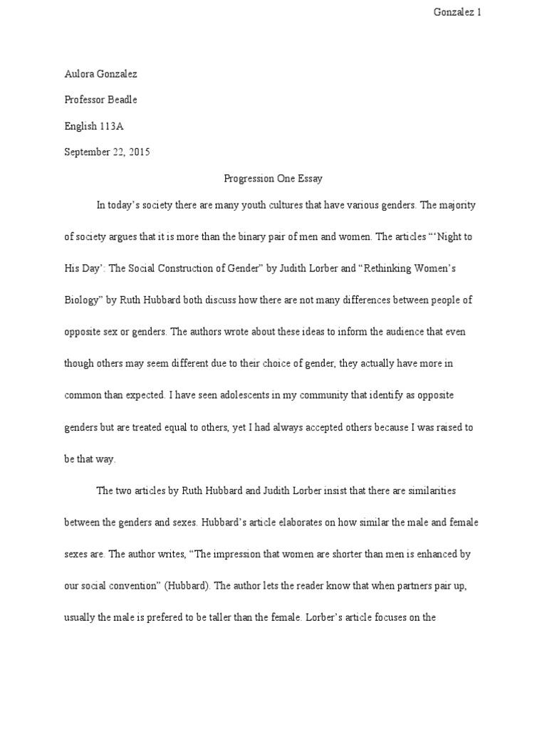 social construction of gender essay