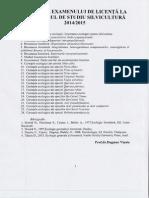 Tematica licenta Silvicultura 2015