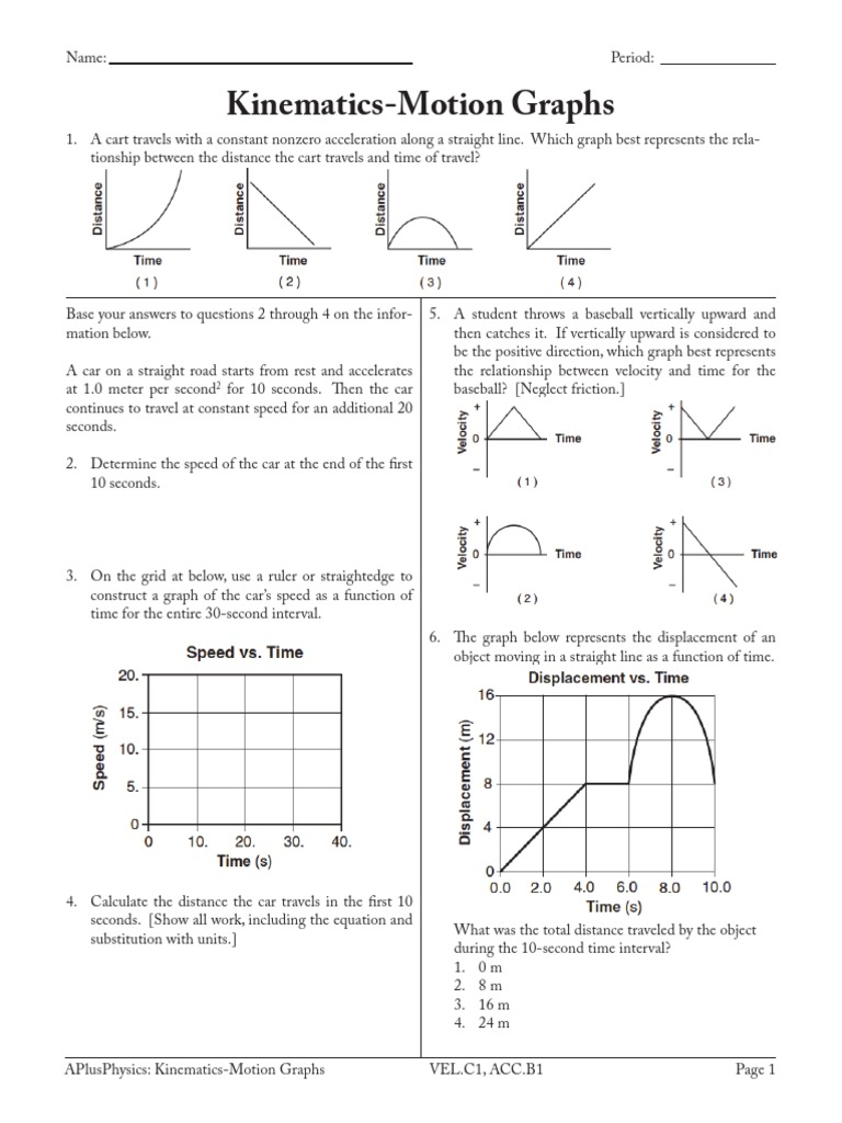 Motion Graphs 3 Worksheet Answers Rcnschool