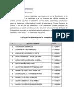 Postulados a Magistrados TSJ Diciembre 2015